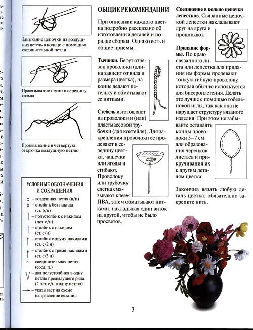 общие рекомендации по вязанию цветов крючком