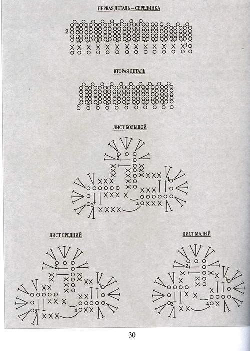 схема вязания клевера крючком
